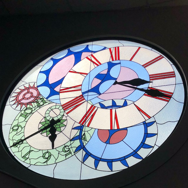 stained glass clock window