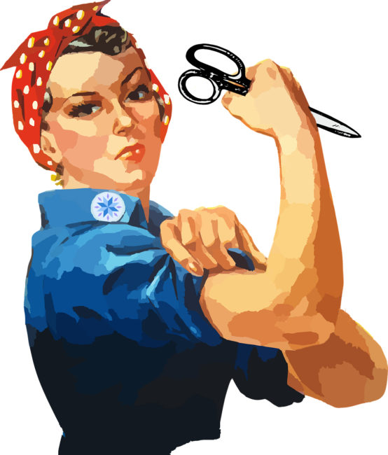 Rosie the Riveter as a Super Quilter