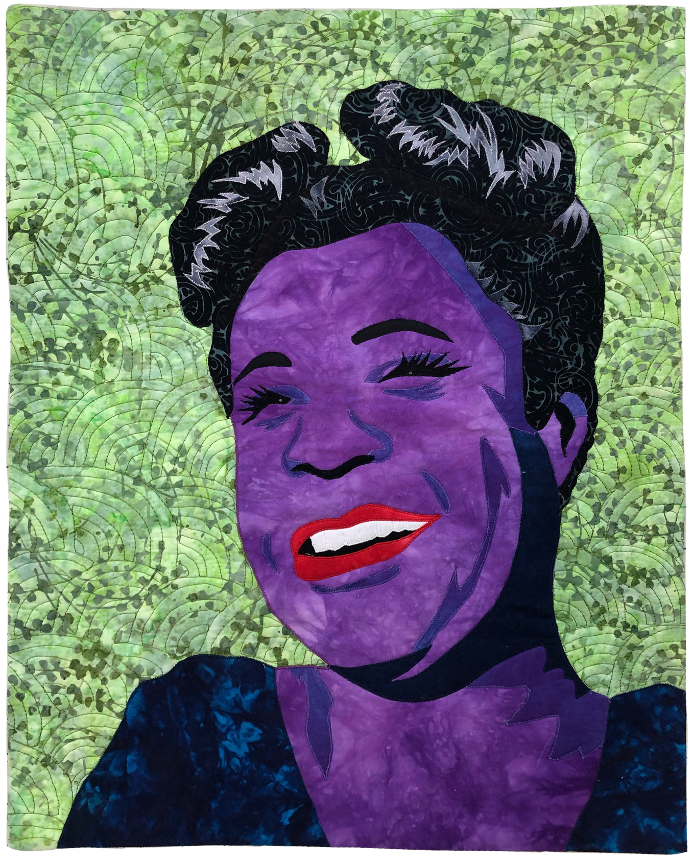 quilted portrait of billie holliday