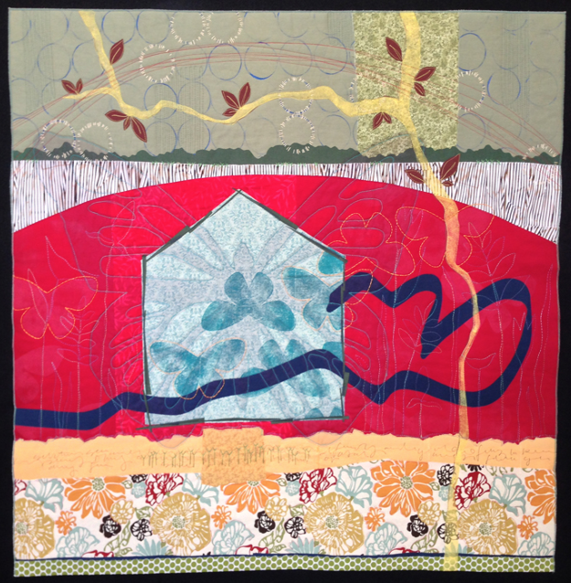 quilt by deborah boschert with blue house