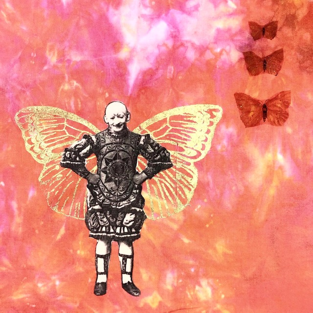vintage clown with gold butterfly wings