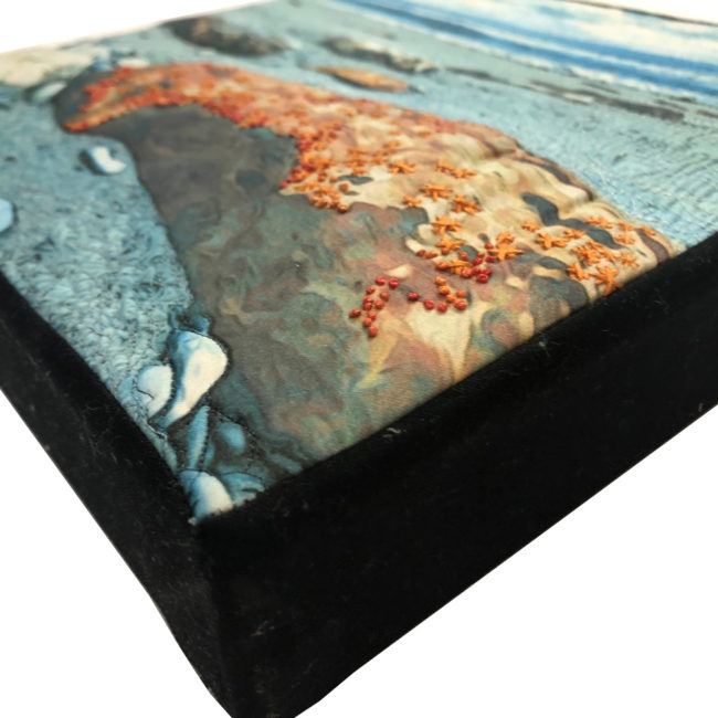 textile art: printed and stitched photo of new zealand beaches by lyric kinard