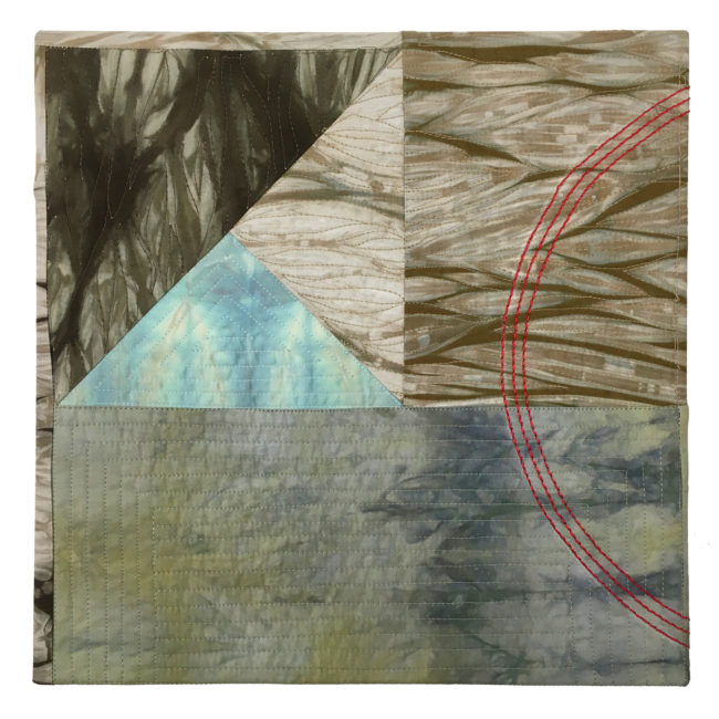 textile art, earth brown and blue shibori with red circles by lyric kinard