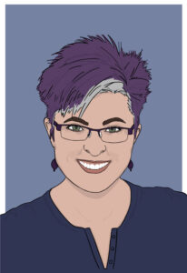 illustrated portrait of Lyric Kinard with purple hair and glasses