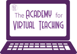 Picture of Laptop with words Academy for Virtual Teaching on screen