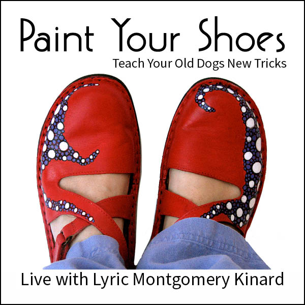 ad for Paint Your Shoes workshop with lyric kinard red painted shoes with purple decorations